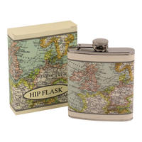 Vintage World Map Stainless Steel Hip Flask Thumbnail 1