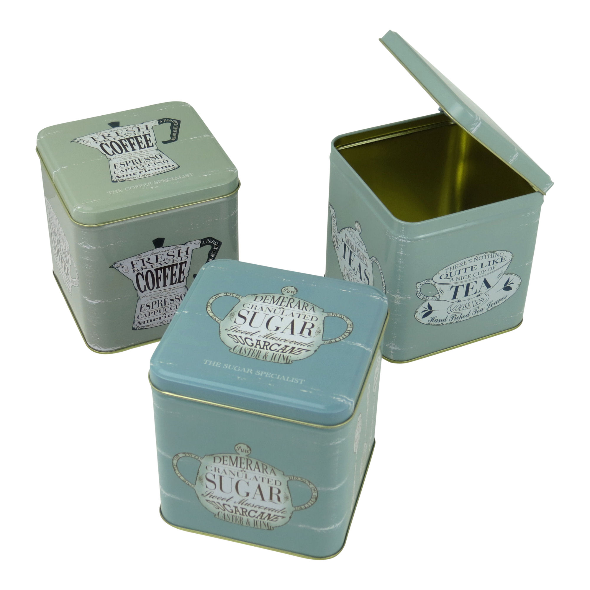 set of 3 coffee tea sugar hinged lid canisters retro kitchen