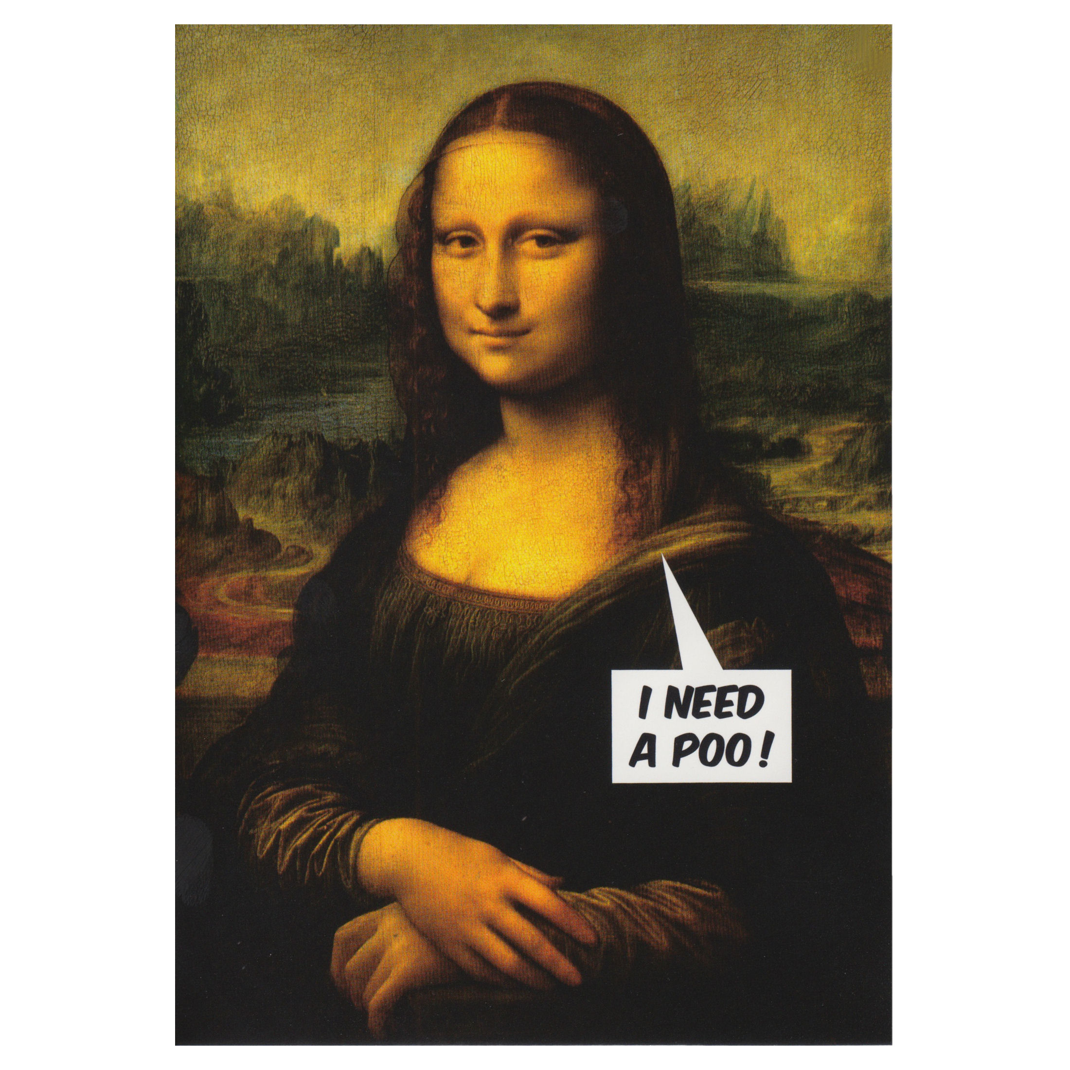 MONA LISA I NEED A POO GREETING CARD ADULT RETRO HUMOUR BLANK
