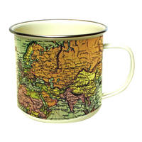 Green & Cream Vintage Maps Enamel Mug