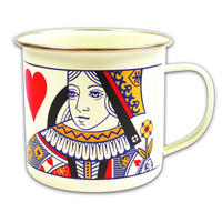 Queen of Hearts Playing Card Enamel Mug