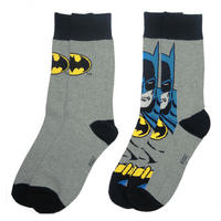 Batman Face & Logo 2 Pack Of Mens Socks Thumbnail 1