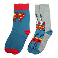 Superman Face & Logo 2 Pack Of Mens Socks Thumbnail 1