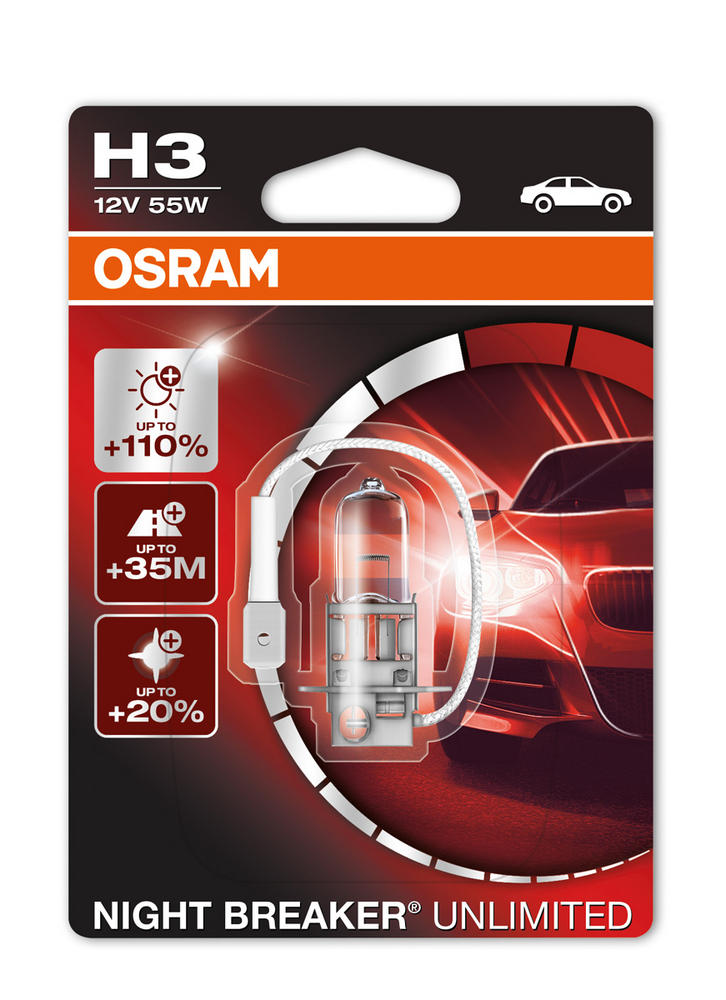Osram H3 (453) 12v 55W Night Breaker Unlimited Foglight Bulb 64151NBU-01B