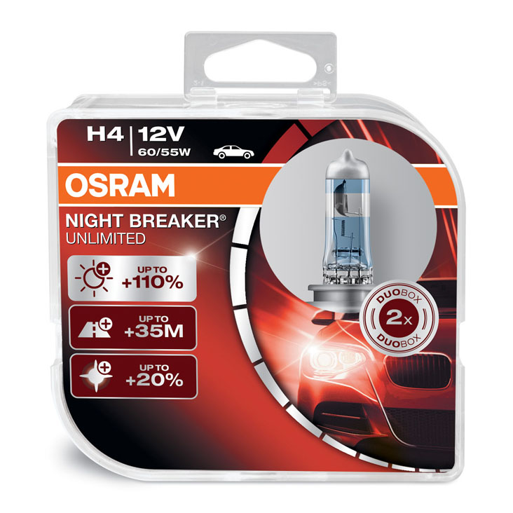 Osram H4 (472) Night Breaker Unlimited Performance Headlight Bulbs 64193NBU-HCB