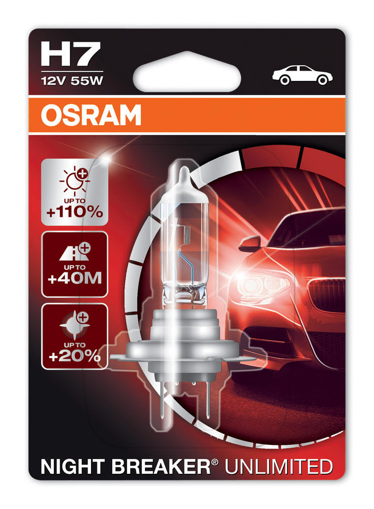 Osram H7 Night Breaker Unlimited Performance Headlight Bulb 64210NBU-01B 477/499