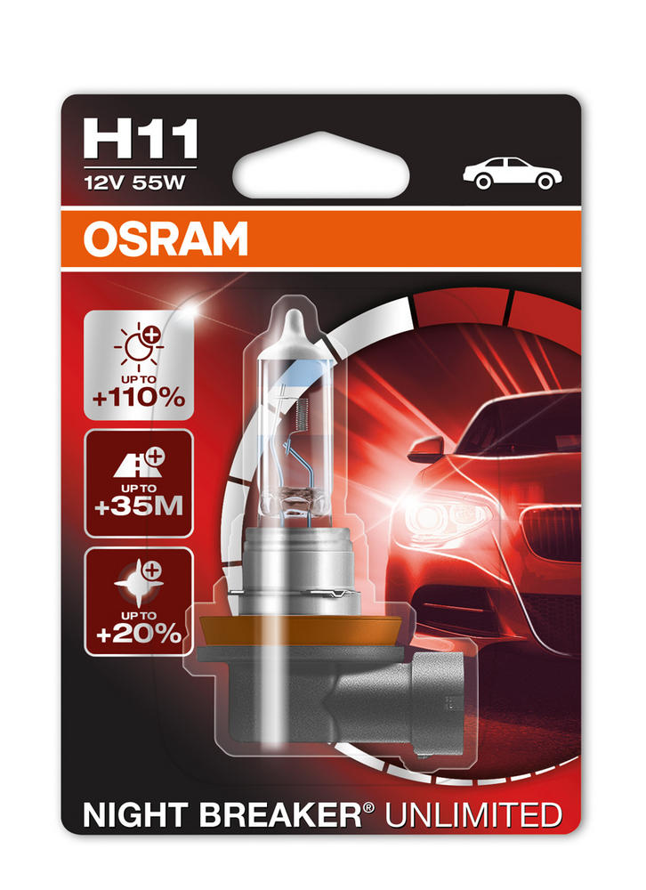 Osram H11 (711) Night Breaker Unlimited +110% Performance Bulb (x1) 64211NBU-01B