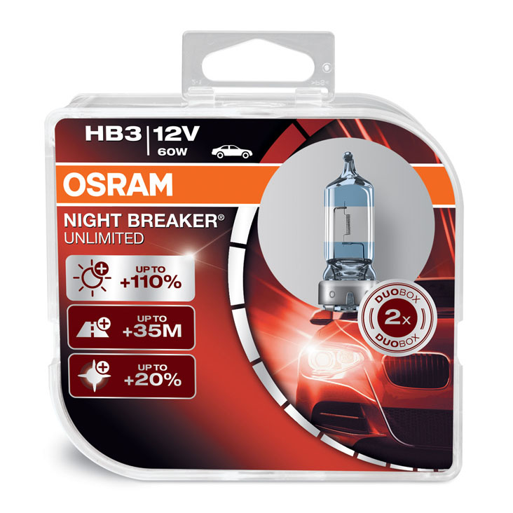 Osram HB3 (9005) Night Breaker Unlimited Upgrade Bulbs 12V 60W 9005NBU-HCB