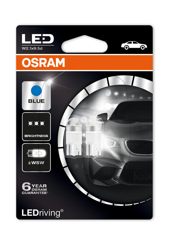 Osram LED 6800K Ice Blue WB5W (501) Wedge 12V 1W Led Bulbs Long Life 2850BL-02B