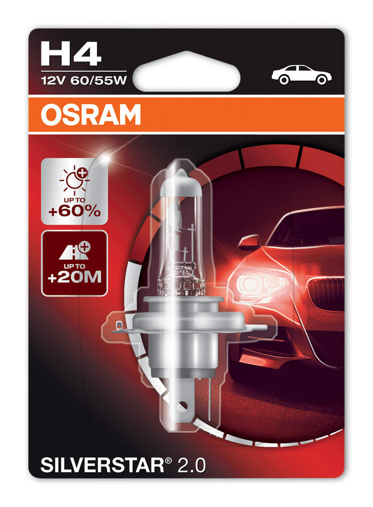 Osram H4 (472) Silverstar 2.0 Upgrade Headlight Bulb +60% 60/55W x1 64193SV2-01B