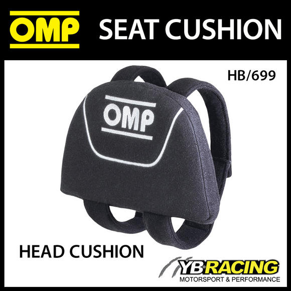 HB/699 OMP RACING SEAT HEAD/HELMET SUPPORT CUSHION in BLACK WITH FITTING STRAPS