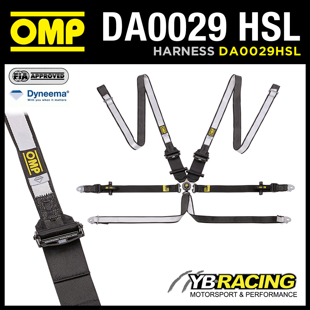 NEW! DA0029HSL OMP RACING WEC BELTS HARNESS 6-POINT HANS ONLY DYNEEMA FABRIC