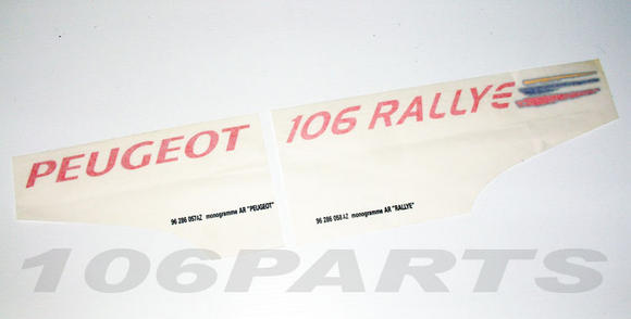 Peugeot 106 1.6 Rallye Rear Decal Stickers Boot Tailgate - New Genuine Peugeot Thumbnail 2