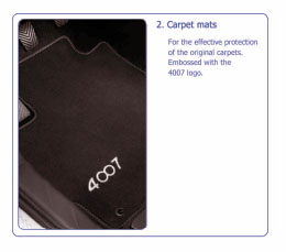 PEUGEOT 4007 CARPET MATS FRONT & 1st ROW [Fits all 4007 models] 2.2 HDI Thumbnail 1