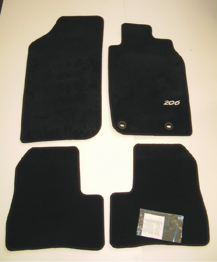 PEUGEOT 206 LUXURY CARPET MATS BLACK [3/5 door hatchback & SW up to Sept 2006]