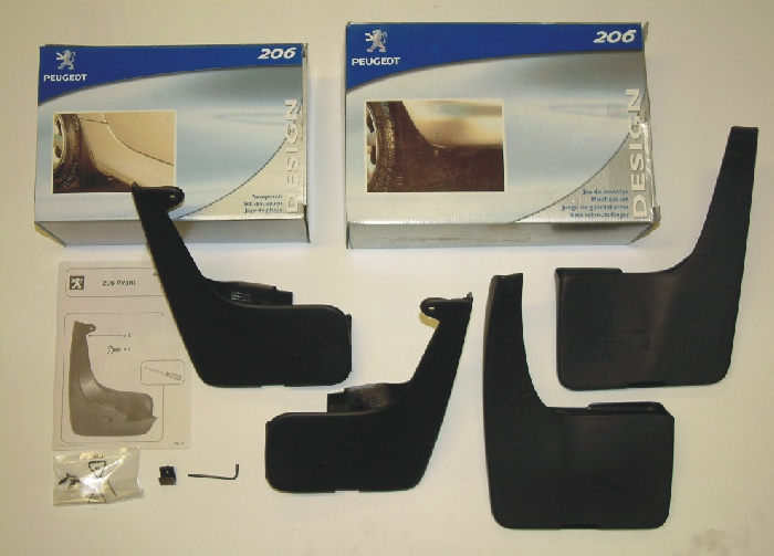 PEUGEOT 206 STYLED MUD FLAP SET [Hatchback models with non sports bumpers]  NEW!