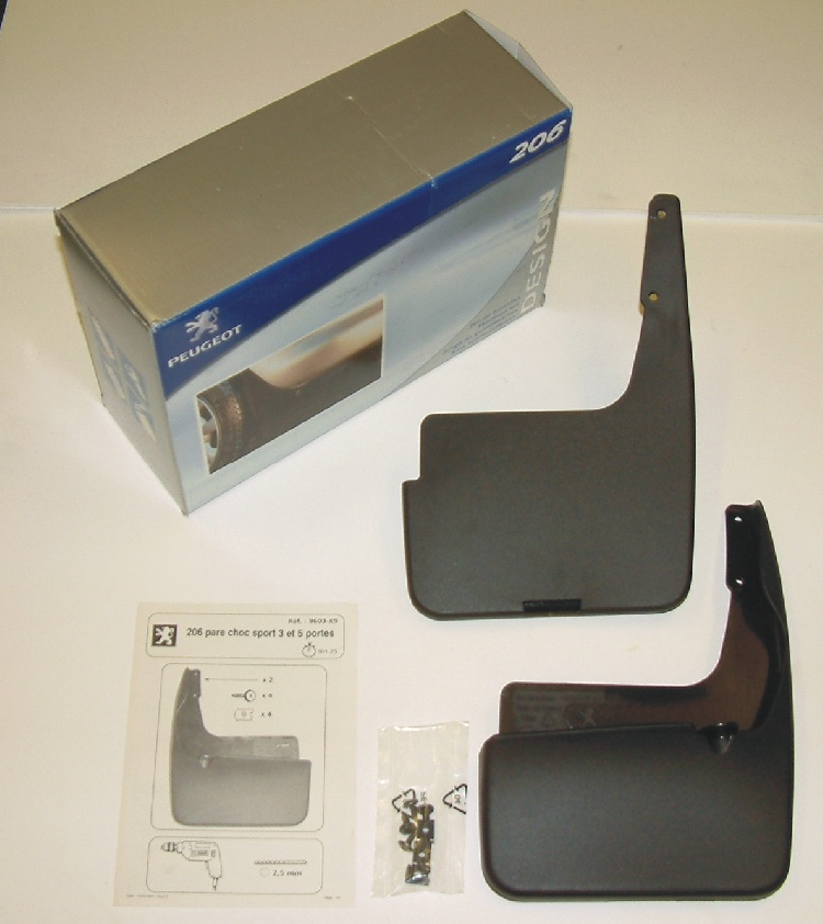 PEUGEOT 206 STYLED MUD FLAP SET [Hatchback and CC models with sports bumpers]