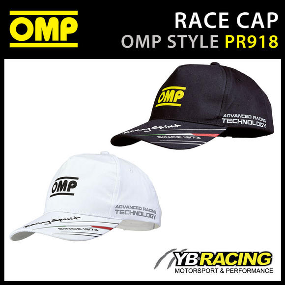 PR918 OMP RACING SPIRIT CAP LIGHTWEIGHT COTTON BLACK or WHITE ADULT & CHILD