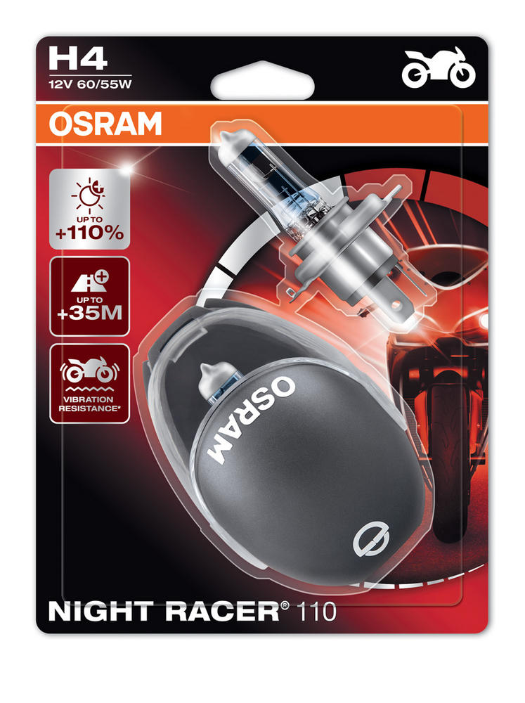 New! Osram H4 Night Racer 110 Motorbike Headlight Bulbs +110% (x2) 64193NR1-02B