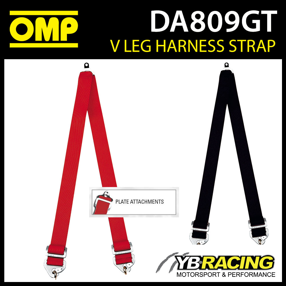 "DA809GT OMP V LEG HARNESS 2"" LAP STRAPS CONVERT TO 6-POINT with PLATE ATTACHMENT"