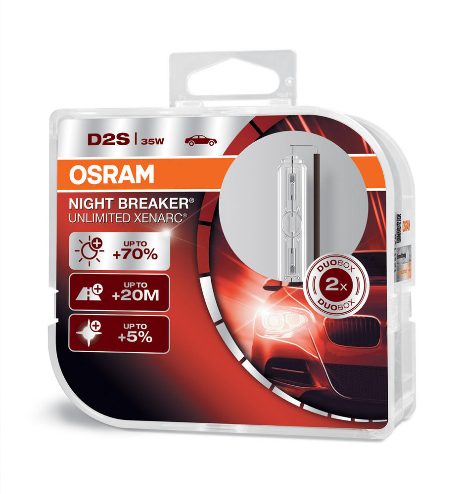 Osram D2S Night Breaker Unlimited XENARC Bulbs x2 HID Xenon Gas 35W 66240XNB-HCB
