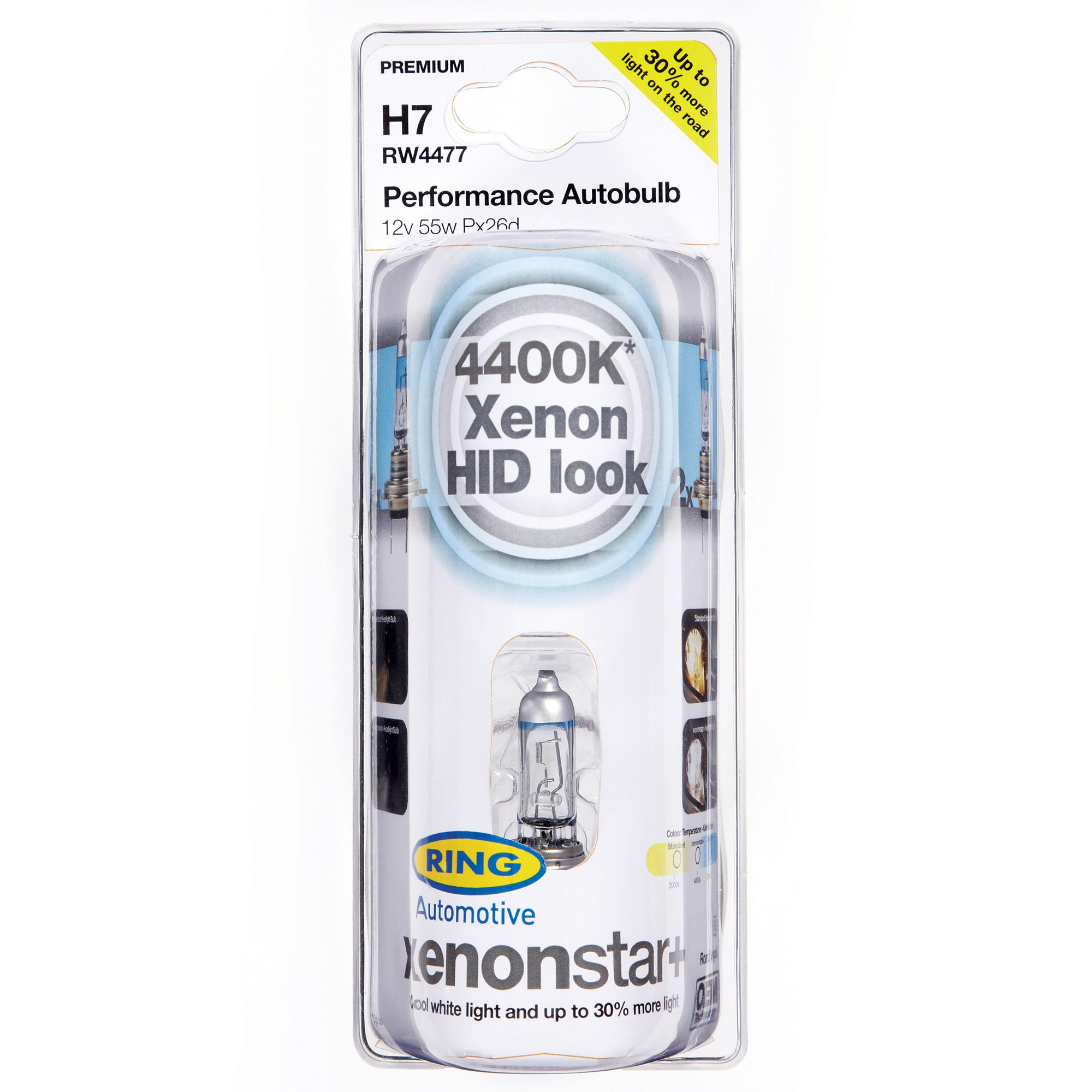 1401/W5/W Set of 2 Ring rew4472/V Xenon Lamp 4400/K and 30/% H4/12/V