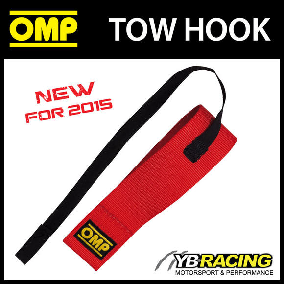 EB/580 OMP RACING TOW HOOK RED 2 inch ELASTIC CHASSIS STRAPS FIA APPROVED