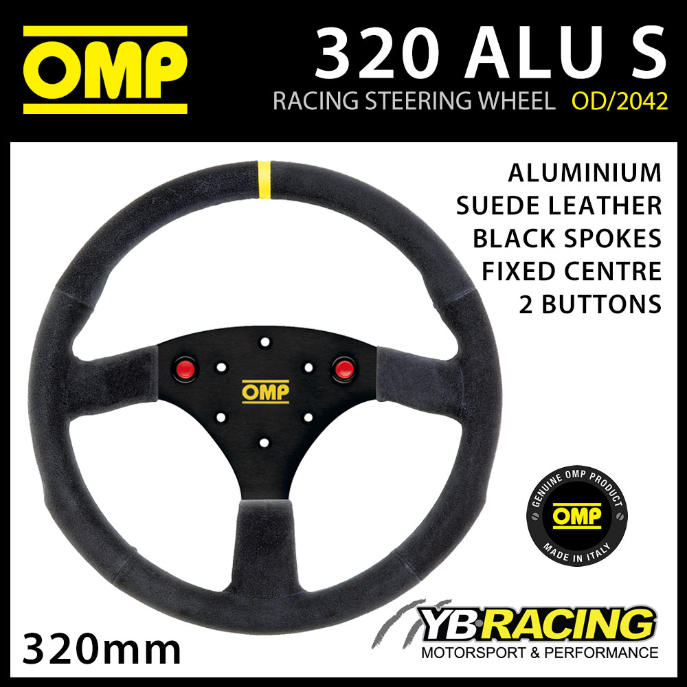 OD/2042/N OMP 320 ALU S PROFESSIONAL STEERING WHEEL ALUMINIUM SUEDE LEATHER