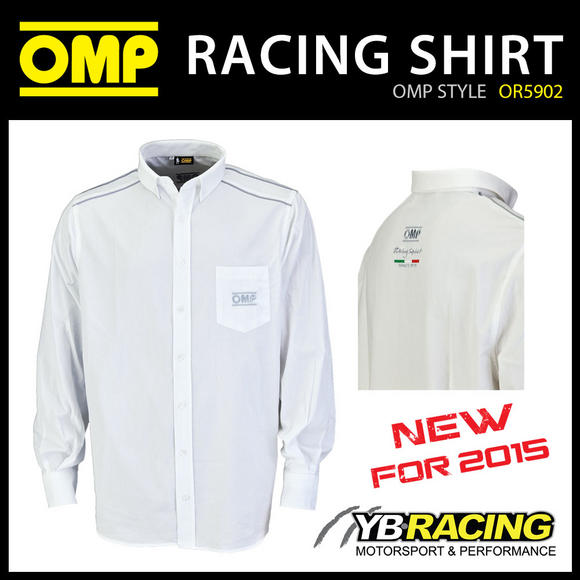 OR5902 OMP Racing Spirit Shirt Long Sleeve Cotton White/Grey Teamwear Pitcrew