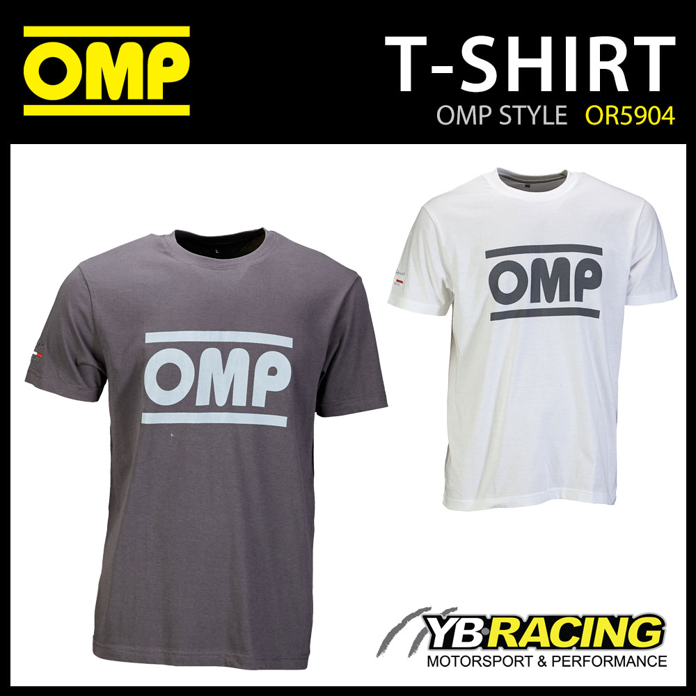 OR5904 OMP Racing Spirit T-Shirt Cotton Fabric White/Grey for Teamwear Pitcrew