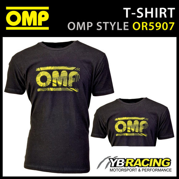 OR5907 OMP Racing Spirit Black Short Sleeve T-Shirt With Large Yellow OMP Logo