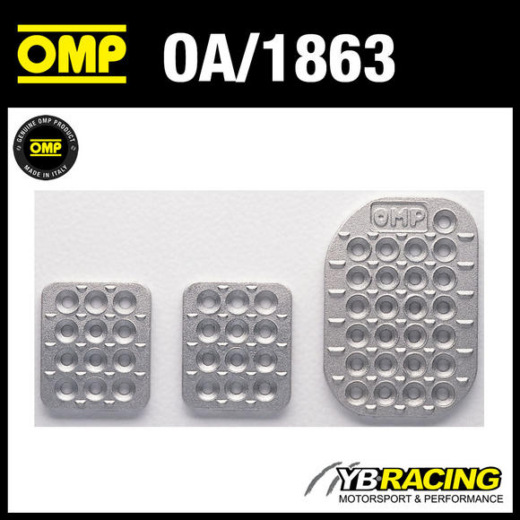 OA/1863 OMP RACING SANDBLASTED ALUMINIUM DRILLED PEDAL SET FOR RACE RALLY CARS!