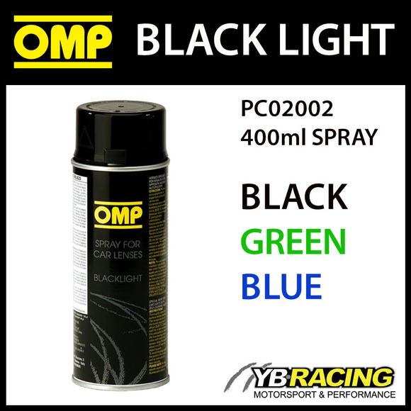 PC02002 OMP BLACK LIGHT SPRAY PAINT FOR CUSTOM LIGHTS COLOUR - BLACK GREEN BLUE