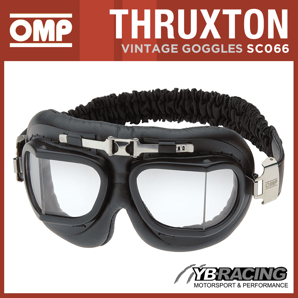 SC066 OMP RACING THRUXTON VINTAGE GOGGLES FOR CLASSIC CAR DRIVER ADULT ONE SIZE