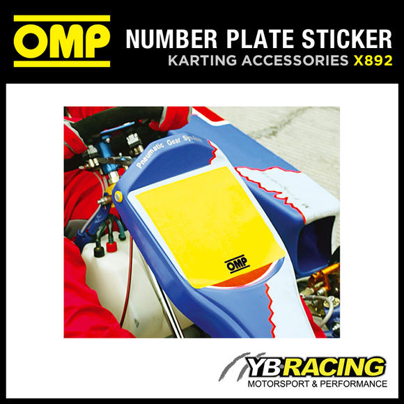 X/892 OMP KART GO-KART ADHESIVE FRONT NUMBER PLATE DECAL KARTING 200X200mm