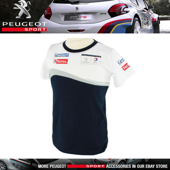 NEW! PEUGEOT SPORT MENS RALLY T-SHIRT WHITE/NAVY 100% COTTON - PTS LOGO ON BACK! Thumbnail 1