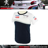NEW! PEUGEOT SPORT MENS RALLY T-SHIRT WHITE/NAVY 100% COTTON - PTS LOGO ON BACK!