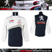 NEW! PEUGEOT SPORT RALLY MENS ZIP SWEATSHIRT with EMBROIDERED LOGOS WHITE/NAVY