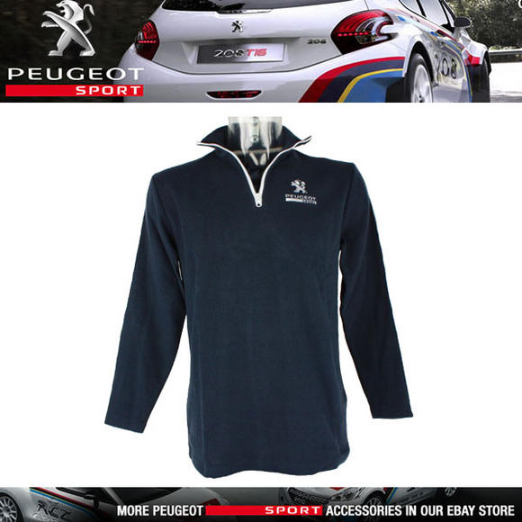 NEW! PEUGEOT SPORT SWEATSHIRT NAVY with WHITE TRIM ZIP TOP 60% COTTON / 40% POLY