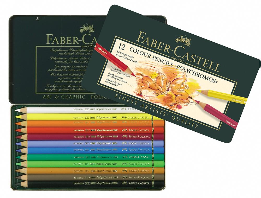 #110012 Tin of 12 Faber-Castell Polychromos Artists/' Art Colour Pencils New!