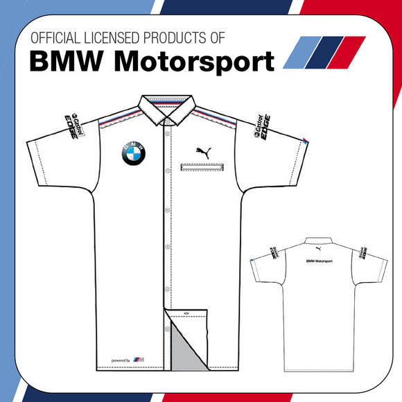 NEW! OFFICIAL BMW MOTORSPORT PUMA M-SPORT MENS TEAM RACE SHIRT WHITE 100% COTTON