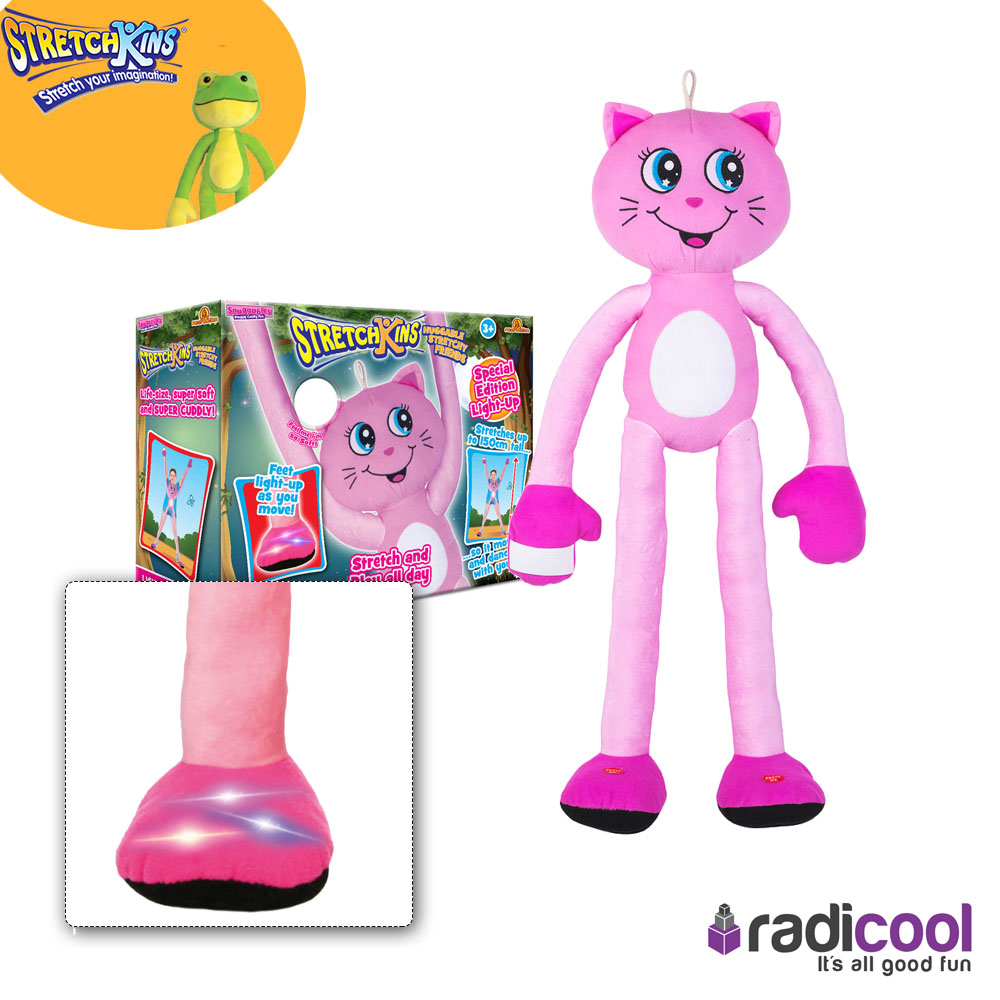 Details about New! Stretchkins Pink Cat Soft & Cuddly Stretch to Life Size & Light up Feet!