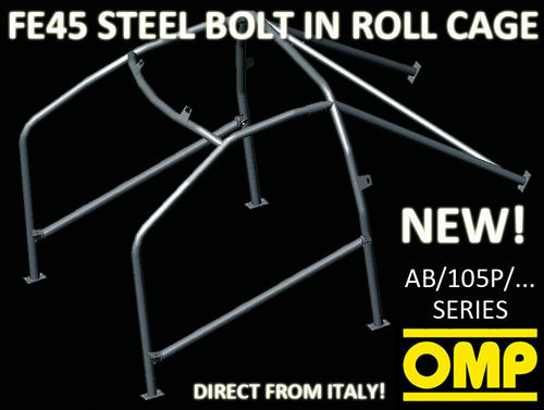 AB/105P/265 OMP ROLL CAGE FIAT 131 ALL 74-86 [6-POINT BOLT IN] FIA APPROVED