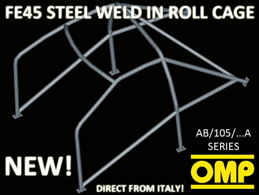 AB/105/126A OMP WELD IN ROLL CAGE PEUGEOT 205 GTI ALL 3 DOOR MODELS 83-98