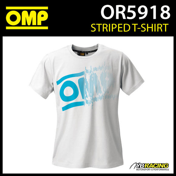 OR5918 OMP Racing Striped Logo T-shirt White Cotton for Teamwear Pitcrew Leisure