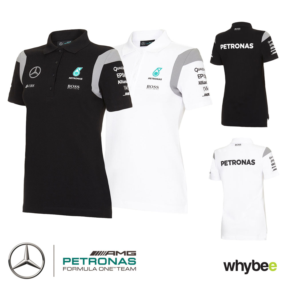 2016 mercedes amg f1 womens team polo shirt black or white. Black Bedroom Furniture Sets. Home Design Ideas