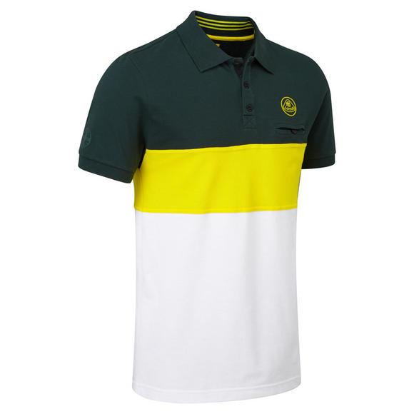 New! Lotus Cars Classic Mens Polo Shirt Striped Design Green/Yellow/White Cotton