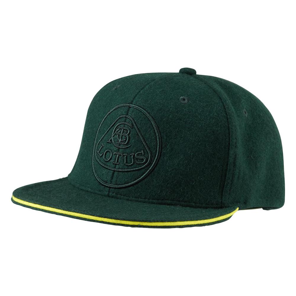 Lotus Classic Flat Brim Style Baseball Cap Green and Embroidered Lotus Logo