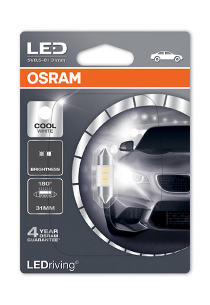 Osram LED 6000K Cool White C5W (269) 31mm Festoon LED Interior Bulb 6431CW-01B
