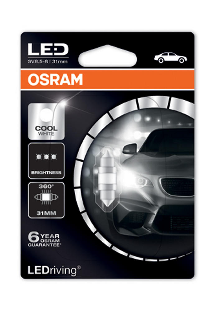 Osram LED 6000K Cool White C5W (269) 31mm Festoon LED Interior Bulb 6497CW-01B